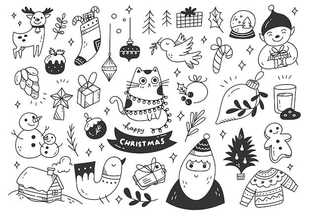 Ensemble de doodles de dessin animé de noël