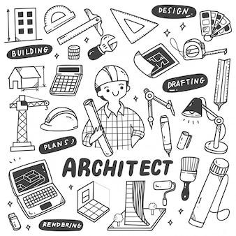 Ensemble de doodles d'équipement d'architecte
