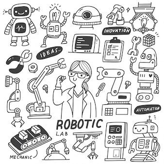 Ensemble de doodles de l'industrie robotique