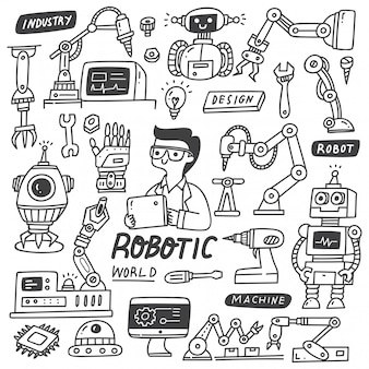 Ensemble de doodles de l'industrie robotique