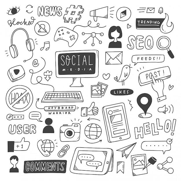 Ensemble de doodles de médias sociaux