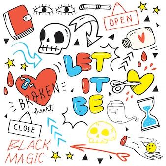Ensemble de doodles mignons dessinés à la main