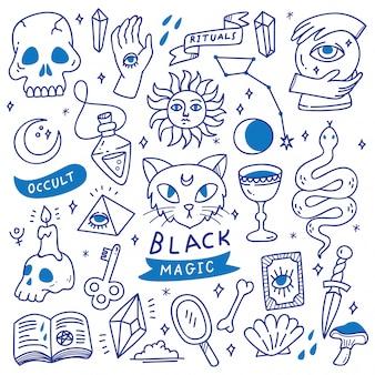 Ensemble de doodles occultes, objet mystique