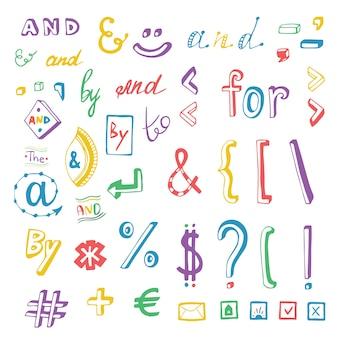 Ensemble de doodles de signe et symbole de médias sociaux coloré. mots-clés et, pour, à, par. élément de design vectoriel