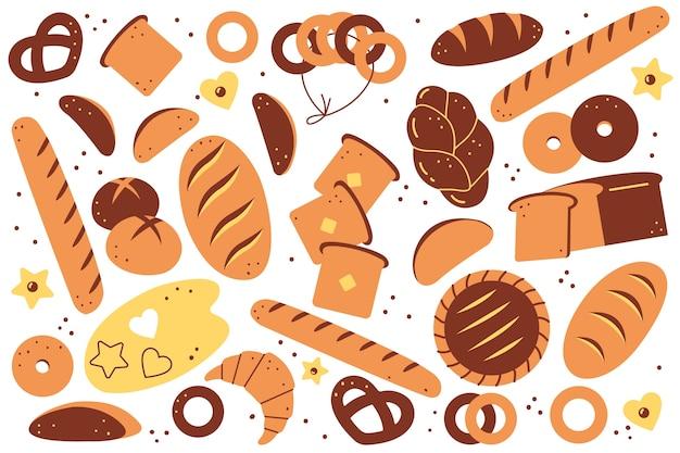 Ensemble de doolde de boulangerie. pains de pain dessinés à la main biscuits pâtisserie toasts petits pains croissants beignets repas nutrition malsaine sur fond blanc. illustration de produits agricoles de blé cuit au four.