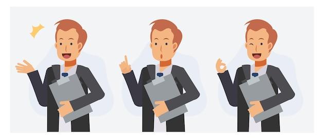Ensemble de dossier de tenue d'homme d'affaires, qui guide les clients, donne des conseils, signe de la main ok.
