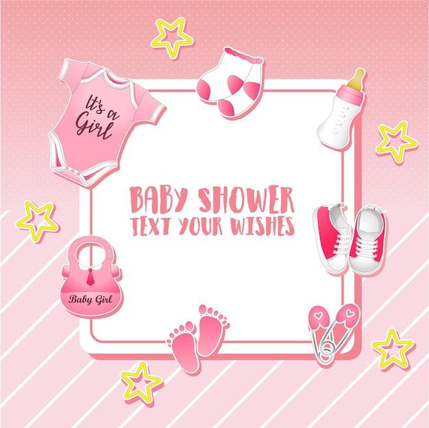 Ensemble de douche de bébé. modèle d'invitation avec place pour le texte