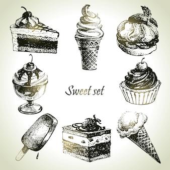 Ensemble doux. illustrations dessinées à la main de gâteau et de crème glacée