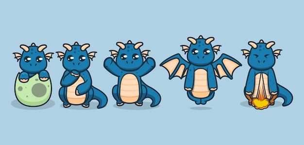 Ensemble de dragons bébé mignon