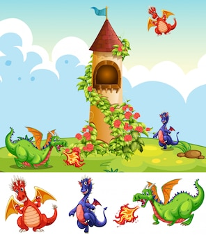 Ensemble de dragons dans un paysage de château