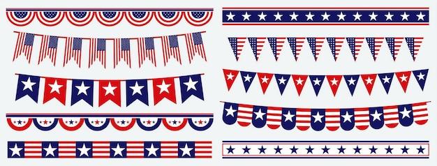 Ensemble de drapeau américain clip art vecteur eps isolé