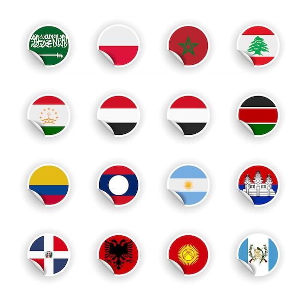 Ensemble de drapeau du pays dans des autocollants