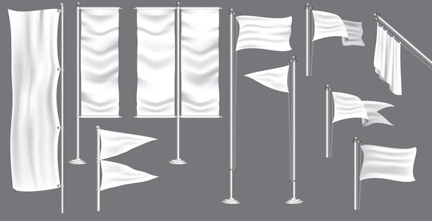 Ensemble de drapeau de maquette ou de drapeau de bannière textile pour la décoration lors d'un événement en plein air. vecteur eps