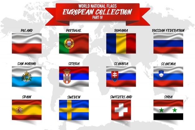 Ensemble de drapeau national du pays européen sur fond de carte mondial.