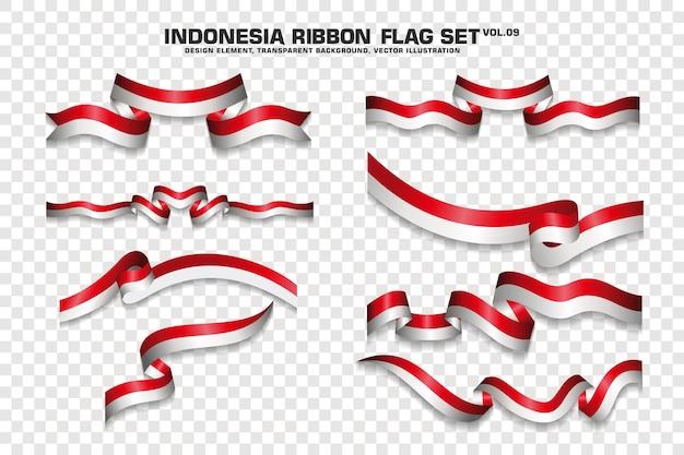 Ensemble de drapeau de ruban indonésien, élément de conception. 3d sur fond transparent. illustration vectorielle