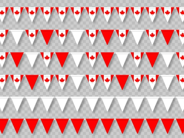 Ensemble de drapeaux de banderoles du canada dans des couleurs traditionnelles.