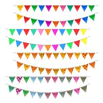Ensemble de drapeaux de bruant de triangle