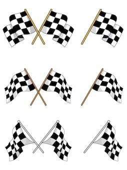 Ensemble de drapeaux à damier de course