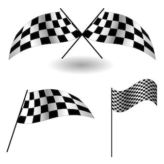Ensemble de drapeaux à damier. illustration vectorielle. eps 10.