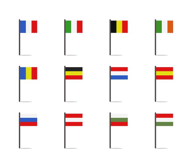 Ensemble de drapeaux européens