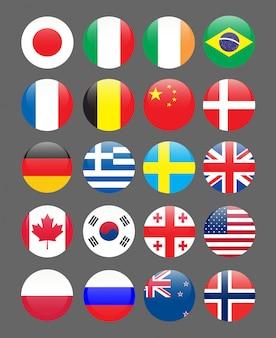 Ensemble de drapeaux icône de broche arrondie