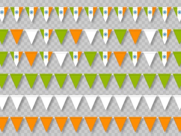Ensemble de drapeaux indiens en tricolore traditionnel.