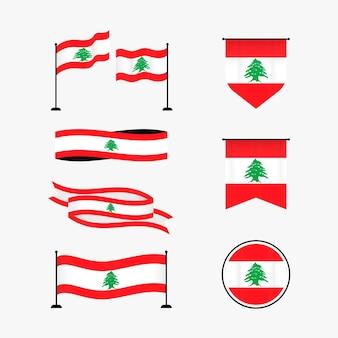 Ensemble de drapeaux libanais design plat