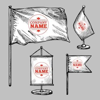 Ensemble de drapeaux à logo croquis