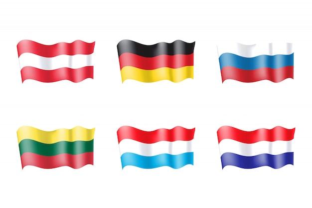 Ensemble de drapeaux luxembourg, pays-bas, russie, lituanie, autriche et allemagne