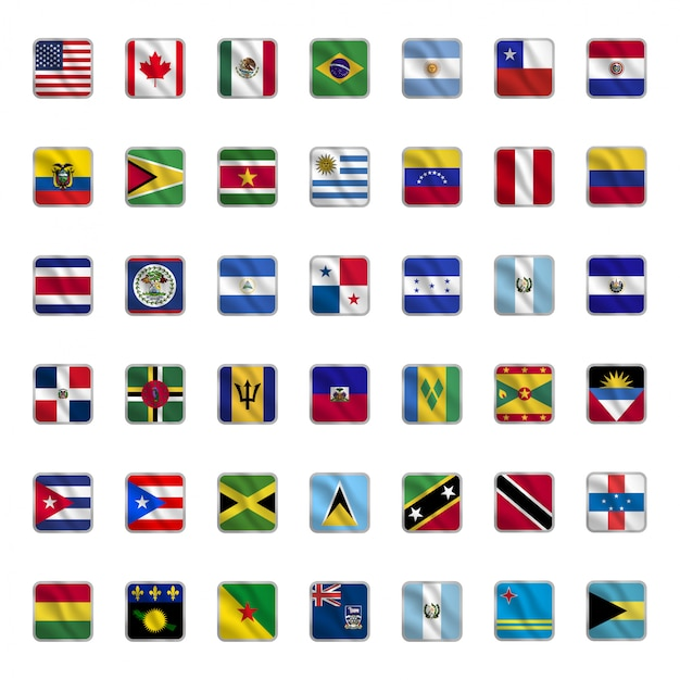 Ensemble de drapeaux de pays américains avec des formes carrées, agitant le style