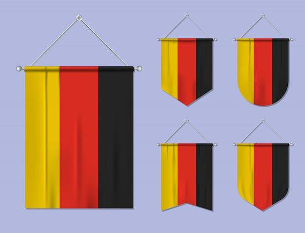 Ensemble de drapeaux suspendus allemagne avec texture textile. formes de diversité du pays du pavillon national. fanion de modèle vertical
