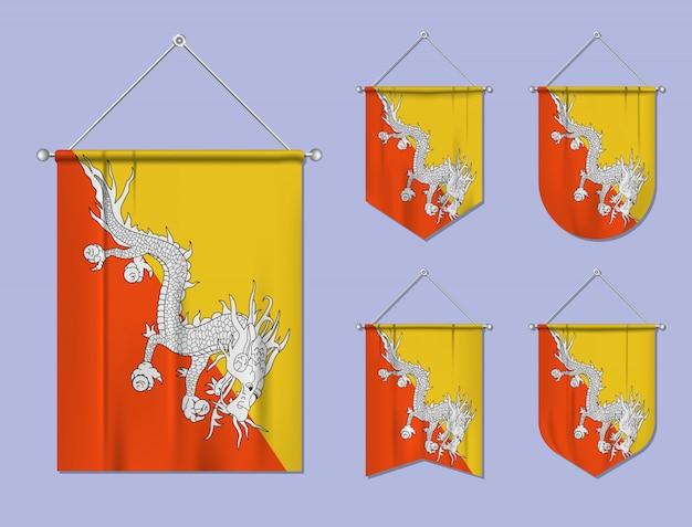 Ensemble de drapeaux suspendus bhoutan avec texture textile. formes de diversité du pays du pavillon national. fanion de modèle vertical.