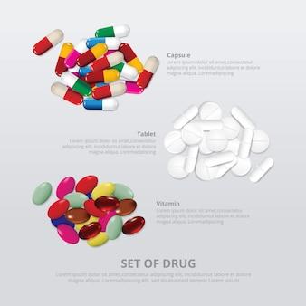 Ensemble de drogue 3 groupe réaliste illustration vectorielle