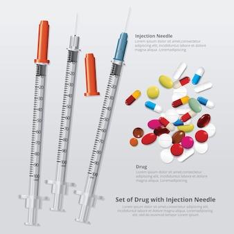 Ensemble de drogue avec illustration vectorielle réaliste aiguille à injection