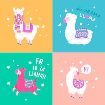 Ensemble drôle de citation de lama. illustration de vecteur de dessin animé lama personnage.