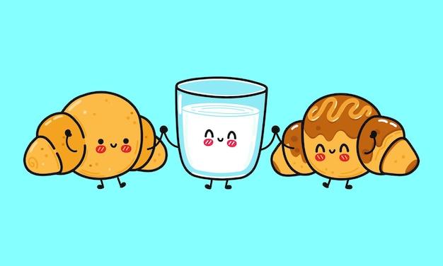 Ensemble de drôles de croissants heureux mignons et de personnages de lait