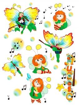 Un ensemble de drôles de drôles de fée et de papillon musicien.