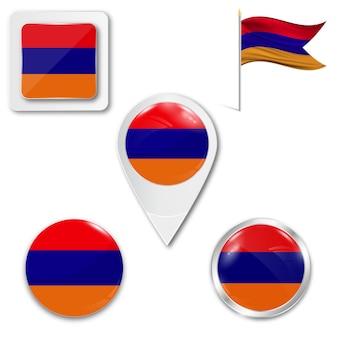 Ensemble du drapeau national de l'arménie