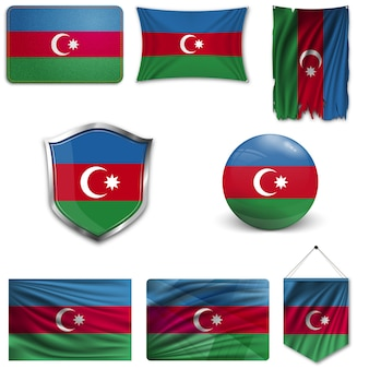 Ensemble du drapeau national de l'azerbaïdjan