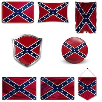 Ensemble du drapeau national des confédérés
