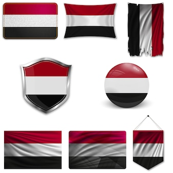 Ensemble du drapeau national du yémen