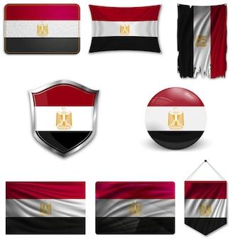 Ensemble du drapeau national de l'egypte