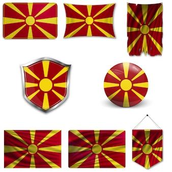 Ensemble du drapeau national de la macédoine