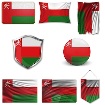 Ensemble du drapeau national d'oman