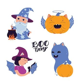 L'ensemble du sorcier fantôme witchpumpkin les personnages sont bons pour les logotypes de magicien d'halloween