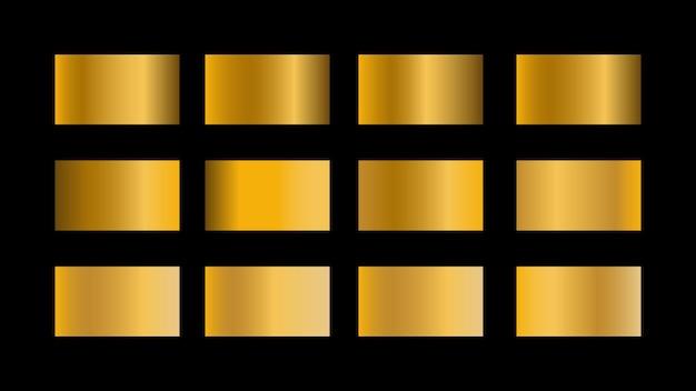 Ensemble d'échantillons de couleurs en dégradé d'or isolé sur fond noir pour la conception d'une bannière ou d'une affiche de site web