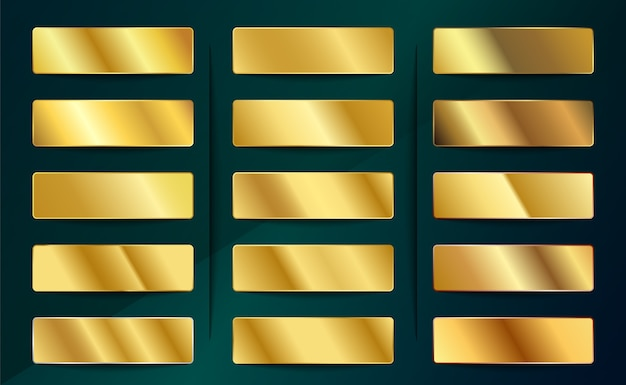 Ensemble d'échantillons de dégradés dorés