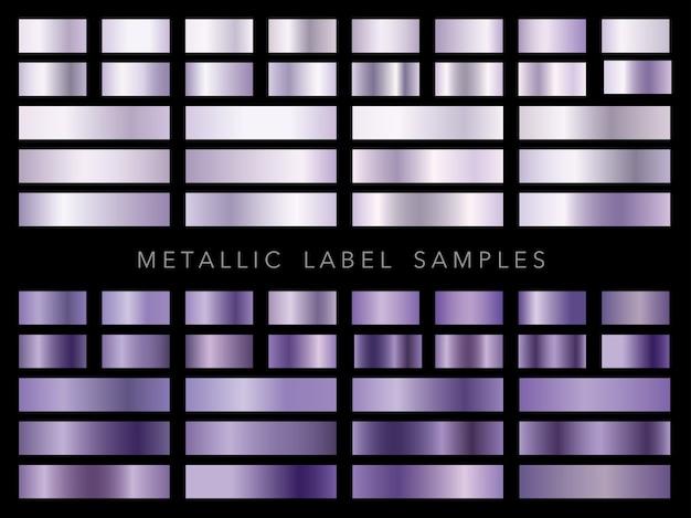Ensemble d'échantillons d'étiquettes métalliques isolés sur fond noir