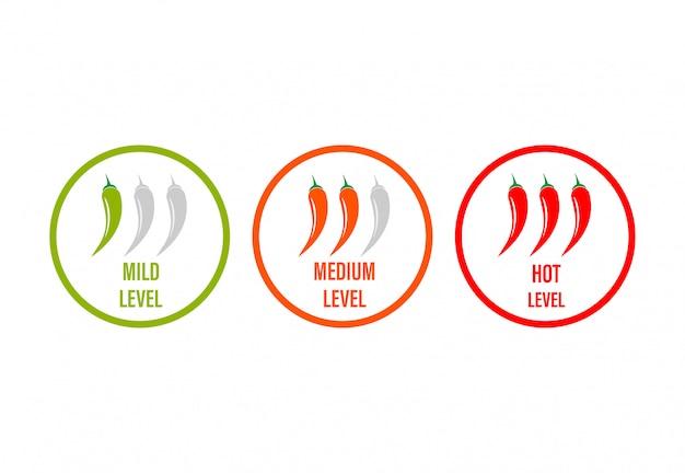 Ensemble d'échelle de force de poivron rouge chaud. indicateur avec des positions d'icônes douces, moyennes et chaudes sur fond blanc. légumes épicés.