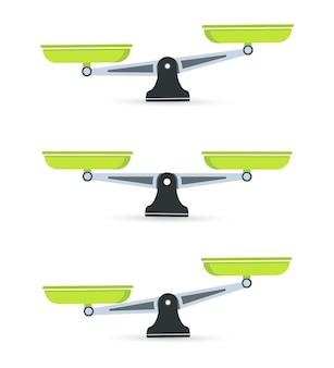 Ensemble d'échelles. des bols d'écailles en équilibre, un déséquilibre d'écailles. icône d'échelles. balance.